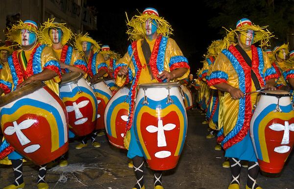 Candombe drumming in Uruguay carnival