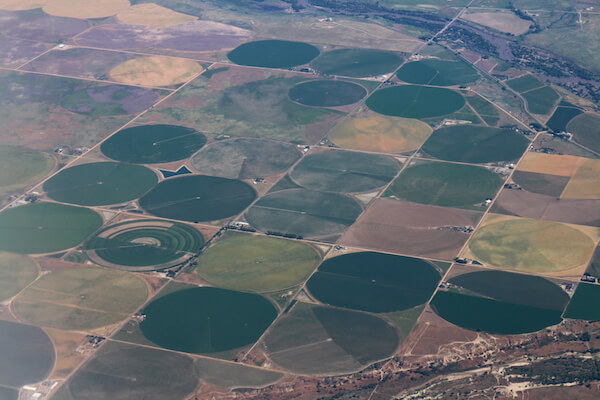 Crop fields in the USA