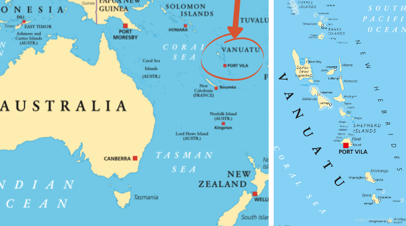 Maps of Vanuatu in the South Pacific Ocean