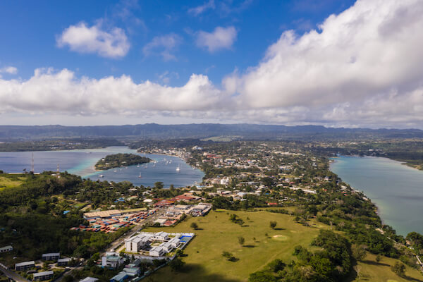 Aerial view of Port Vila, the capital city of Vanuatu