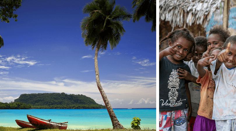 Vanuatu facts: boats on beach by livcool/shutterstock.com and vanuatu kids by JantiraNamwong/shutterstock.com