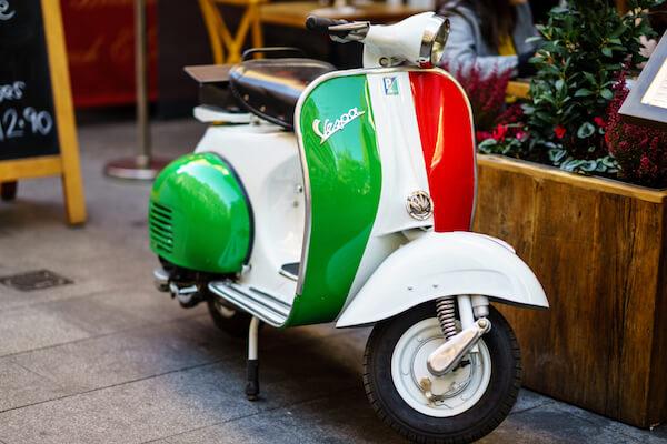 Famous Italians: Italian design Vespa scooter - image by Nrqemi/shutterstock.com