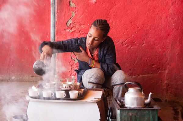 Afar woman brewing coffee in Ethiopia