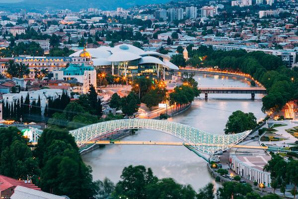 Tbilisi Bridge of Peace over the Mtkvari River