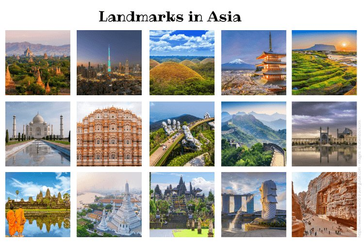 Landmarks in Asia - images from shutterstock.com