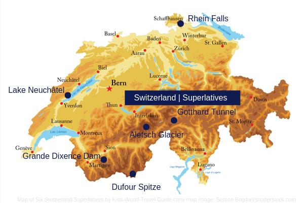 Switzerland Map with Geo Superlatives - map image by Serban Bogdan/shutterstock.com