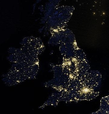 NASA image UK population centres- from wikicommons