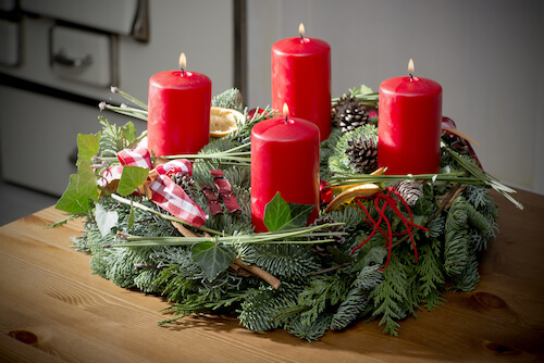 Typical Advent Wreath With Four Candles
