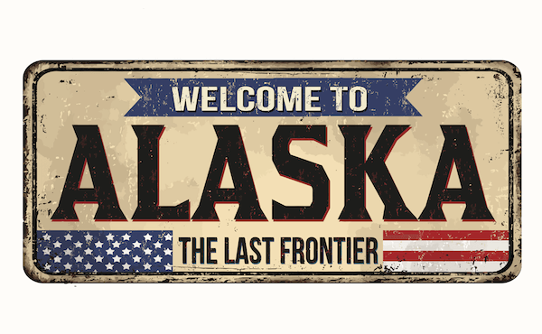 Welcome to Alaska - The Last Frontier - Numberplate by shutterstock