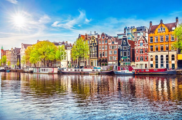Houses in Amsterdam along the river