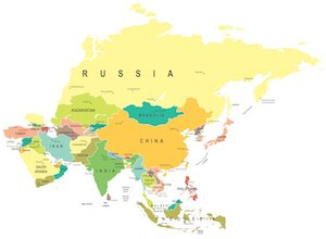 World Atlas Map Of Asia.Asia Facts For Kids Geography Attractions People Travel Asia