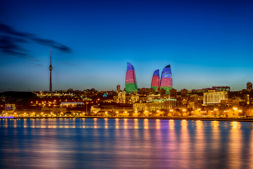 Baku at night by R Andrei/Shutterstock.com