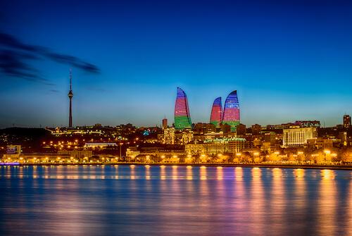 Baku at night by R Andrei/Shutterstock.com
