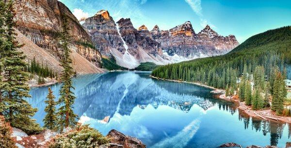 Banff National Park and Lake Moraine in Alberta Canada