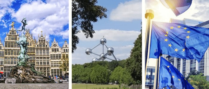 Belgium: Antwerp, Atomium, EU Flags and Parliament