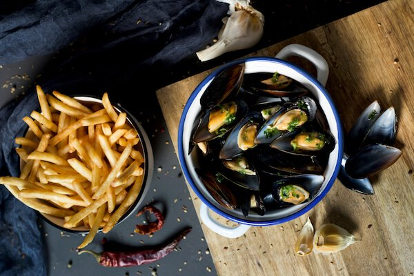 Belgian Moules Frites - Belgium Fact: This is one of the most popular Belgian dishes