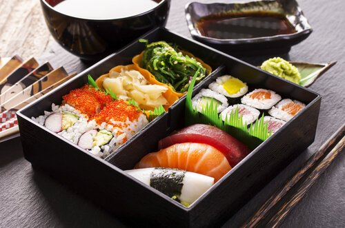 Japanese sushi in bento box