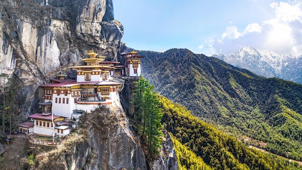 Bhutan's Paro Taktsang, the Tiger's Nest monastery high in the Himalayan mountains.