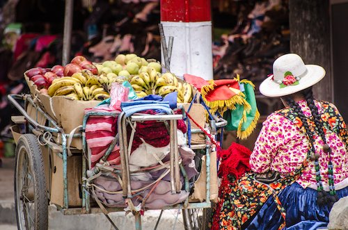 Bolivian woman selling fruit at the market
