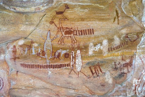 Rock paintings in Capivara National Park in Brazil