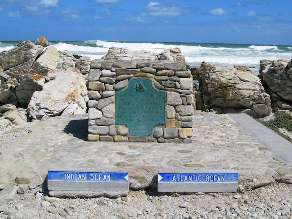 Cape Agulhas in South Africa where Indian and Atlantic Oceans meet