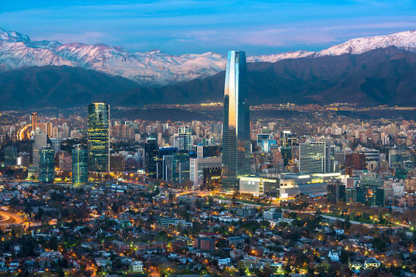 Santiago de Chile at sunset - capital city of Chile
