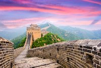 China - great wall in sunset