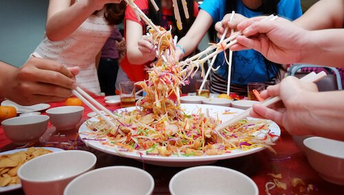 Singapore Prosperity Toss at Chinese New Year