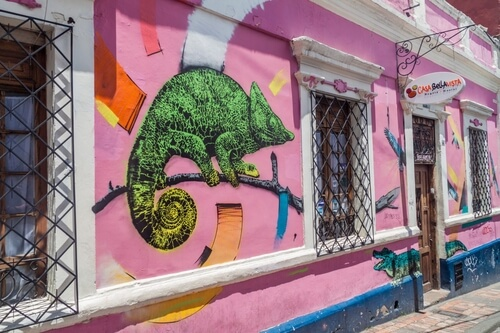 Bogota's la Candelaria with graffiti - image by Matyas Rehak/Shutterstock.com