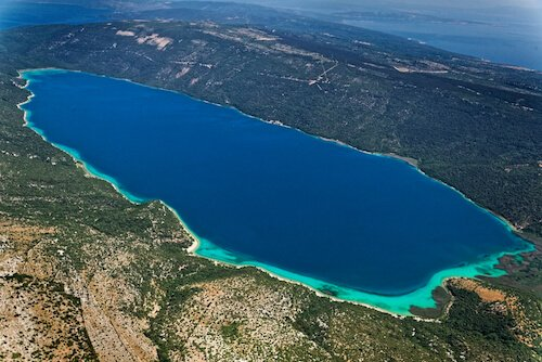 Aerial view of Lake Vrana in Croatia
