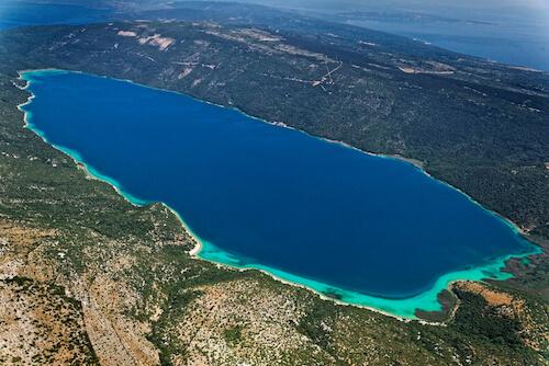 Aerial view of Lake Vrana in Croatia