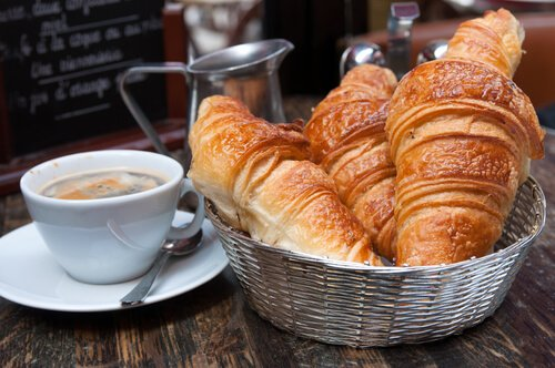 Food in France: Traditional croissants and coffee for a French breakfast