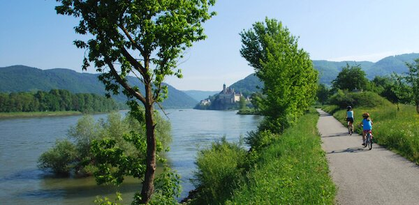 Cyclists along the Danube