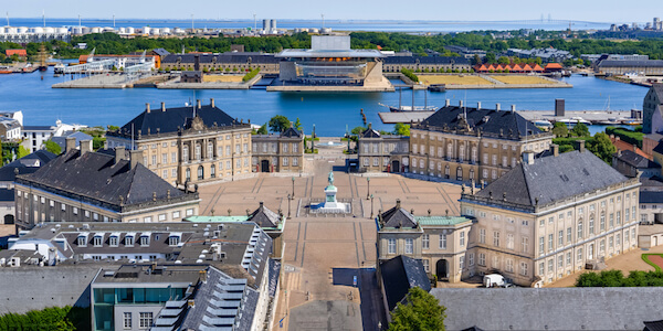 Denmark Amalienborg Palace in Copenhagen