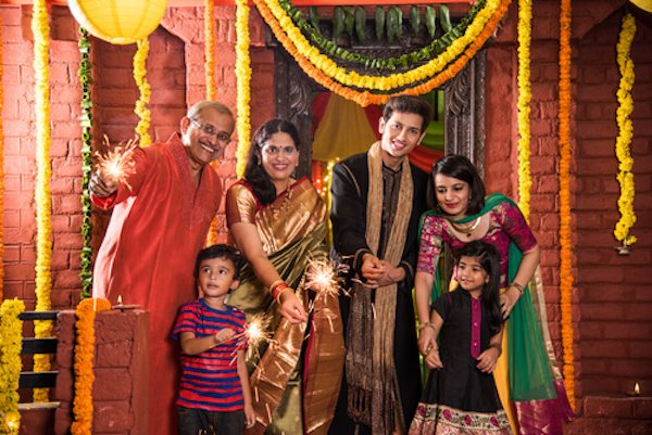 Diwali celebrations of Indian Family
