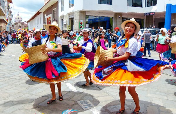Folk dancers in Ecuador