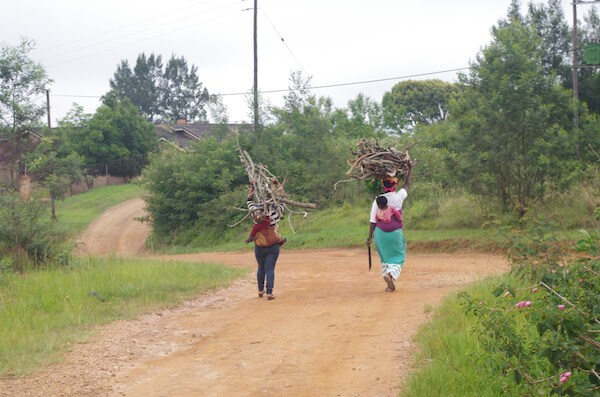 Emaswati women carrying firewood