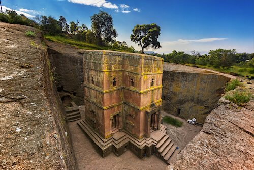Rock-hewn church in Lalibela/Ethiopia