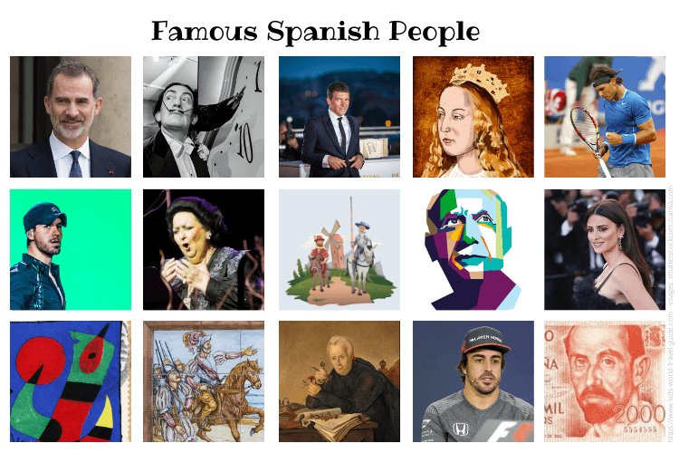 Collage of Famous Spanish People - images by wikicommons and shutterstock. Check Kids World Travel Guide page for more detailed info.