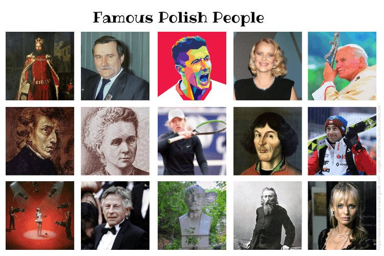 Famous Polish People Collage by Kids-World-Travel-Guide.com; images from wikicommons and shutterstock - see credits on website