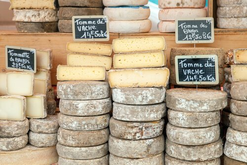 Food in France: French cheese sold at the Market