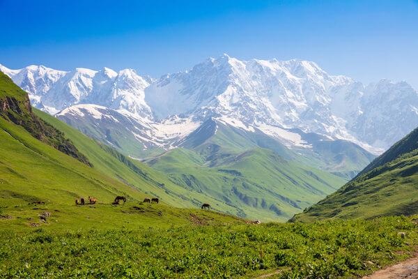 Shkhara Mountain in Georgia