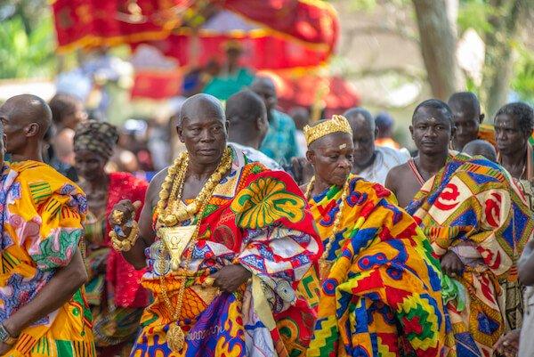 Elders wearing Kente clothing at the Odwira Festival in Ghana