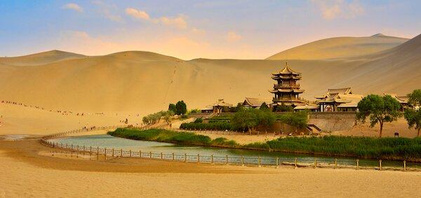 Crescent moon spring in Gansu/Gobi Desert - image by Rick Wang Shutterstock