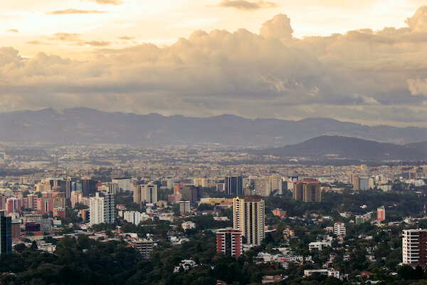 Guatemala Cityscape with clouds
