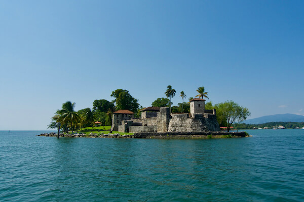 Lake Izabal in Guatemala with Fort San Felipe
