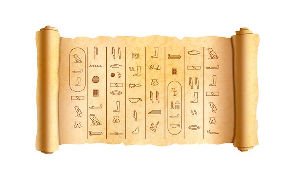 Hieroglyphics (Old Egyptian writing) on a papyrus scroll