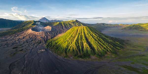 Indonesian volcanic landscape at Mount Bromo in East Java