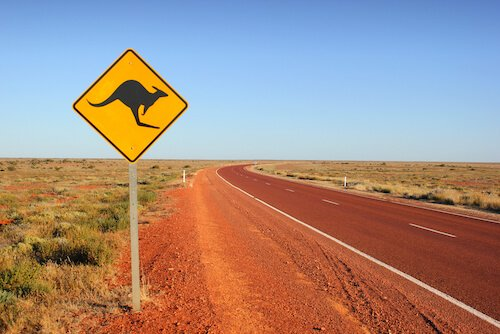 Kangaroo roadsigns in Australia