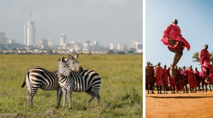 Facts about Kenya: Zebras in Nairobi National Park and Jumping Maasai (iSelena/shutterstock)